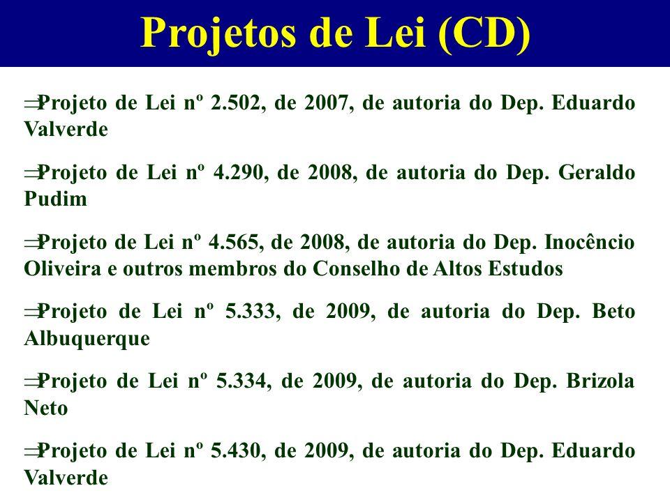 Projetos de Lei (CD) Projeto de Lei nº 2.502, de 2007, de autoria do Dep. Eduardo Valverde Projeto de Lei nº 4.290, de 2008, de autoria do Dep. Gerald