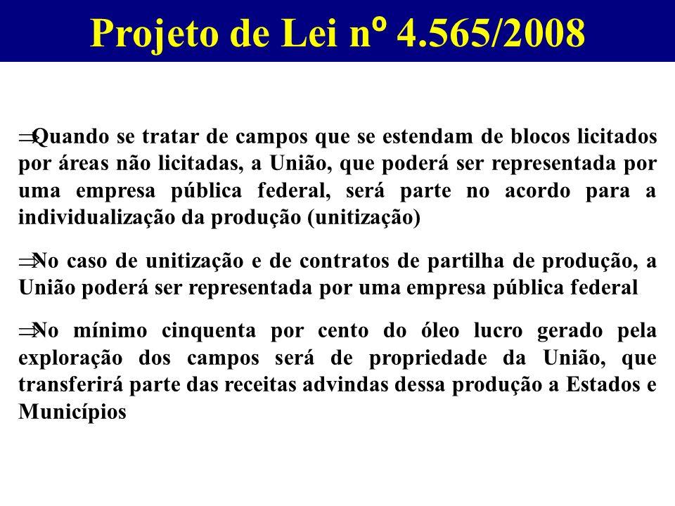 Projeto de Lei n º 4.565/2008 Quando se tratar de campos que se estendam de blocos licitados por áreas não licitadas, a União, que poderá ser represen