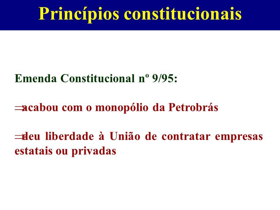 Princípios constitucionais Emenda Constitucional nº 9/95: acabou com o monopólio da Petrobrás deu liberdade à União de contratar empresas estatais ou