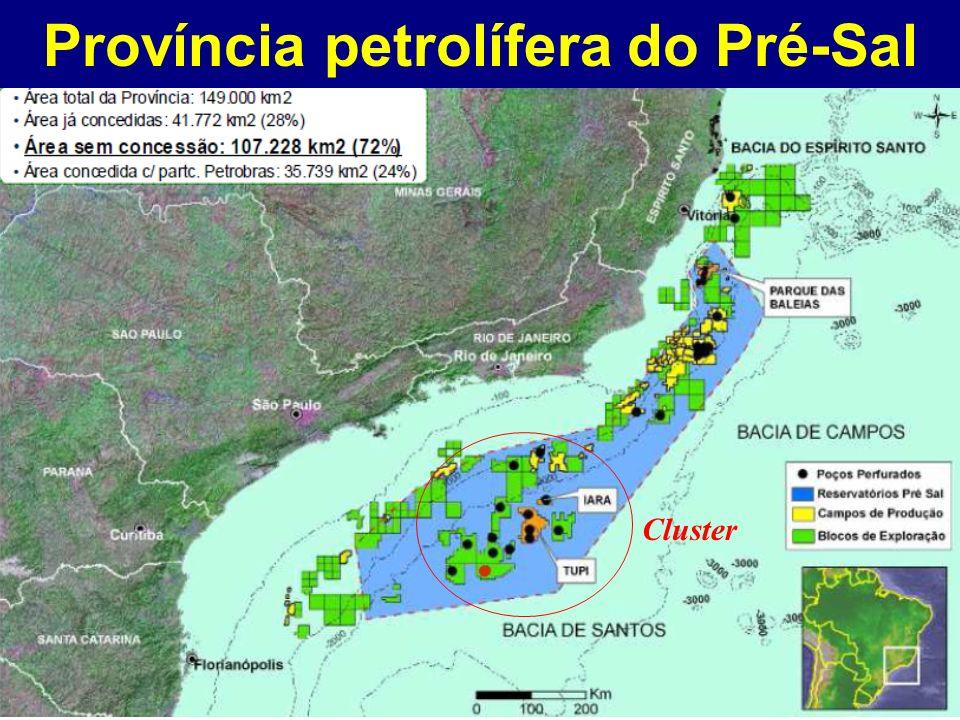 Cluster do Pré-Sal na Bacia de Santos As reservas na região do cluster podem ser de mais de 50 bilhões de barris equivalentes de petróleo.