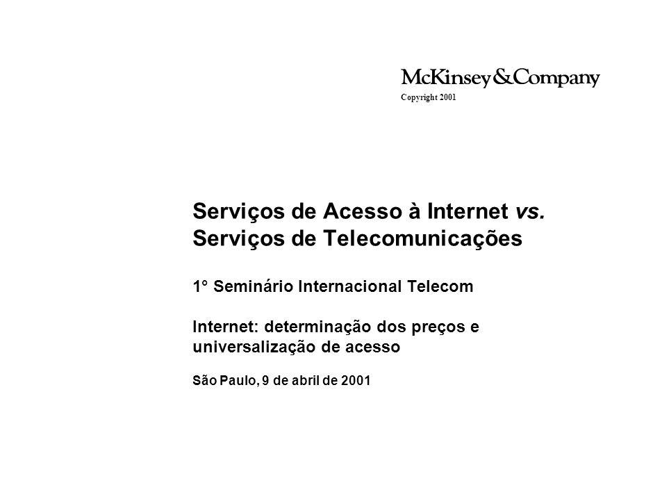 Serviços de Acesso à Internet vs. Serviços de Telecomunicações 1° Seminário Internacional Telecom Internet: determinação dos preços e universalização