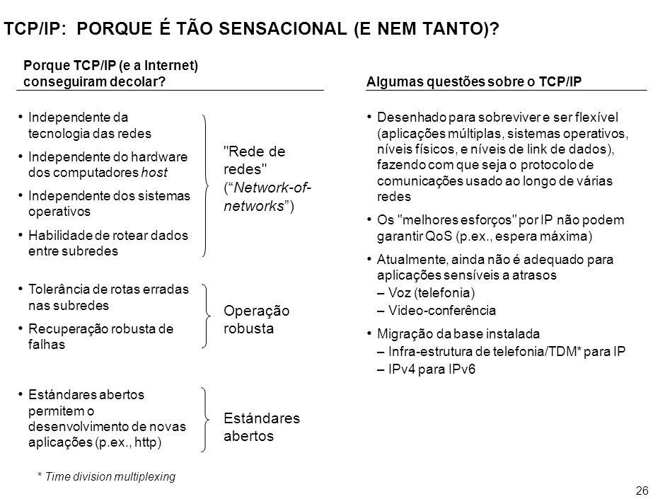 26 TCP/IP: PORQUE É TÃO SENSACIONAL (E NEM TANTO)? *Time division multiplexing Porque TCP/IP (e a Internet) conseguiram decolar? Independente da tecno