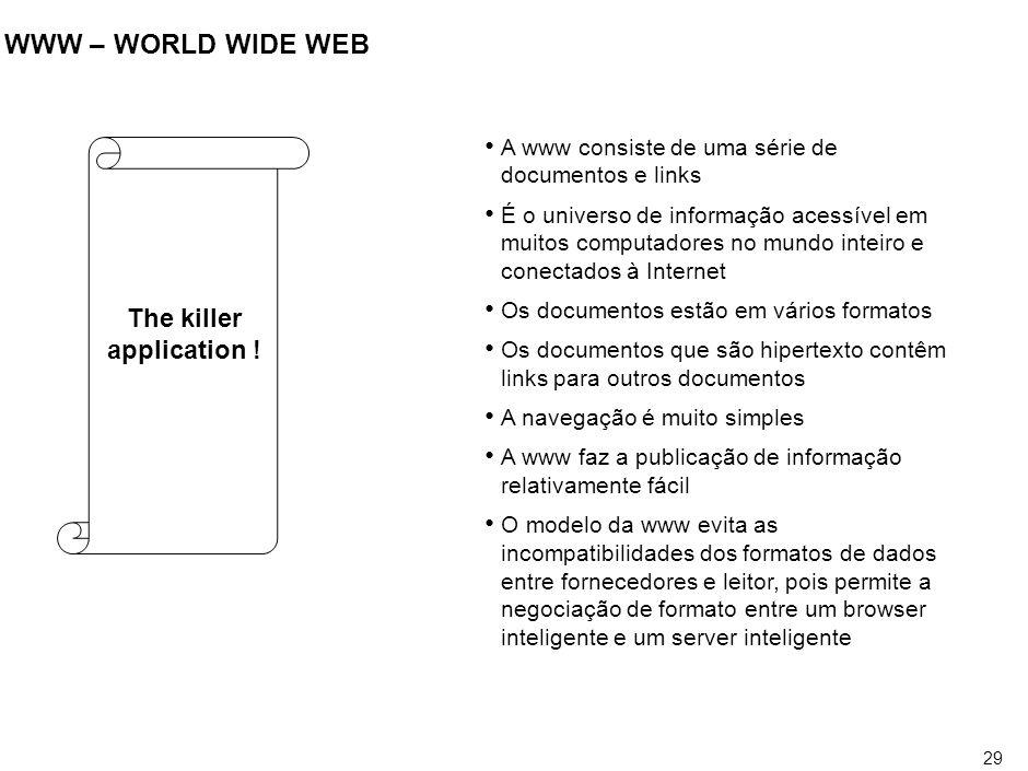 29 WWW – WORLD WIDE WEB The killer application ! A www consiste de uma série de documentos e links É o universo de informação acessível em muitos comp