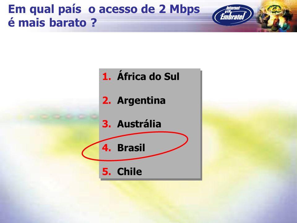 Em qual país o acesso de 2 Mbps é mais barato ? 1. África do Sul 2. Argentina 3. Austrália 4. Brasil 5. Chile 1. África do Sul 2. Argentina 3. Austrál