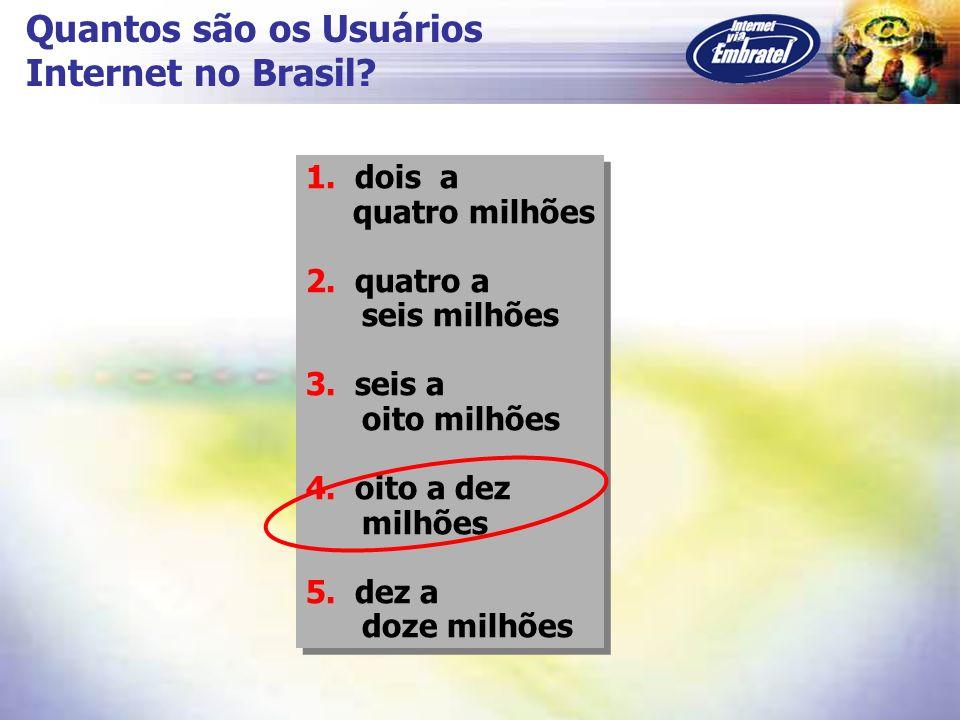 Quantos são os Usuários Internet no Brasil? 1. dois a quatro milhões 2. quatro a seis milhões 3. seis a oito milhões 4. oito a dez milhões 5. dez a do
