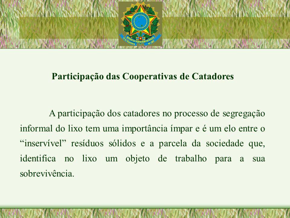 Participação das Cooperativas de Catadores A participação dos catadores no processo de segregação informal do lixo tem uma importância ímpar e é um el
