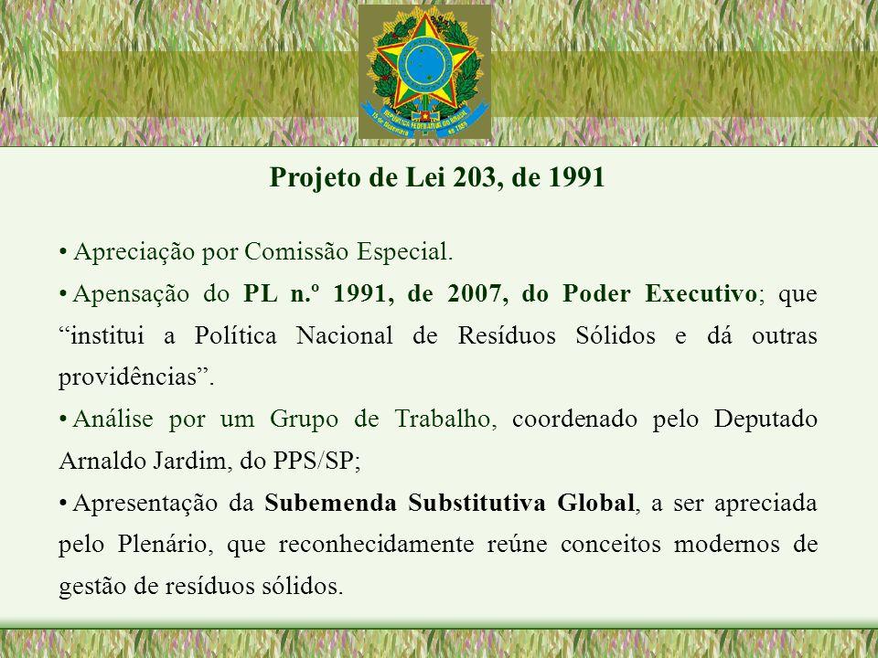 Projeto de Lei 203, de 1991 Apreciação por Comissão Especial. Apensação do PL n.º 1991, de 2007, do Poder Executivo; que institui a Política Nacional