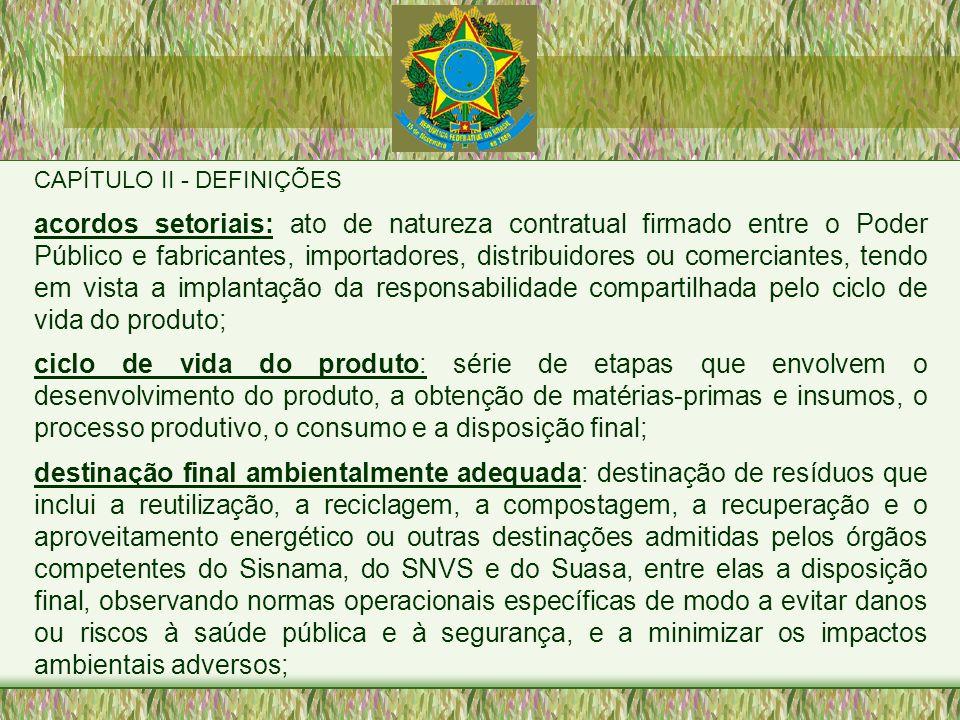 CAPÍTULO II - DEFINIÇÕES acordos setoriais: ato de natureza contratual firmado entre o Poder Público e fabricantes, importadores, distribuidores ou co