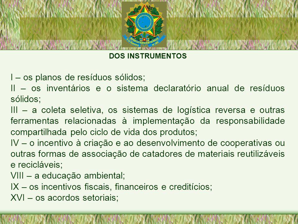 DOS INSTRUMENTOS I – os planos de resíduos sólidos; II – os inventários e o sistema declaratório anual de resíduos sólidos; III – a coleta seletiva, o