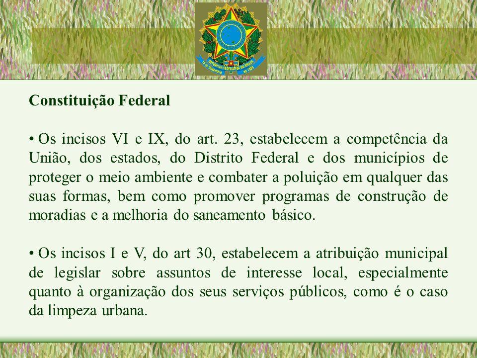 Constituição Federal Os incisos VI e IX, do art. 23, estabelecem a competência da União, dos estados, do Distrito Federal e dos municípios de proteger
