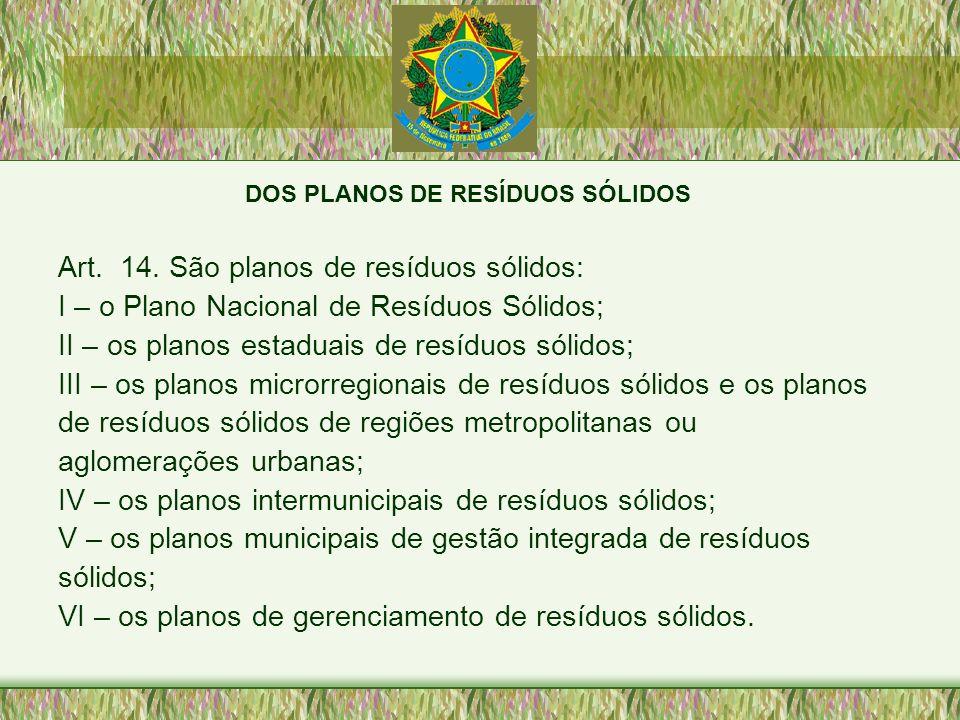 DOS PLANOS DE RESÍDUOS SÓLIDOS Art. 14. São planos de resíduos sólidos: I – o Plano Nacional de Resíduos Sólidos; II – os planos estaduais de resíduos