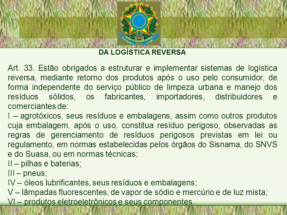 DA LOGÍSTICA REVERSA Art. 33. Estão obrigados a estruturar e implementar sistemas de logística reversa, mediante retorno dos produtos após o uso pelo