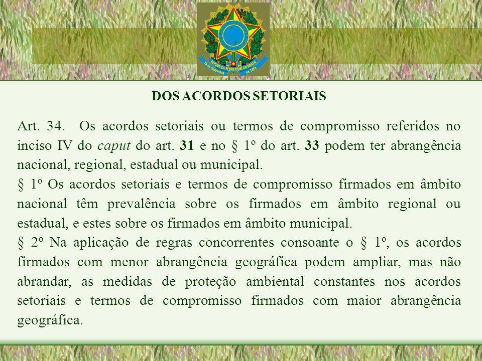 DOS ACORDOS SETORIAIS Art. 34. Os acordos setoriais ou termos de compromisso referidos no inciso IV do caput do art. 31 e no § 1º do art. 33 podem ter