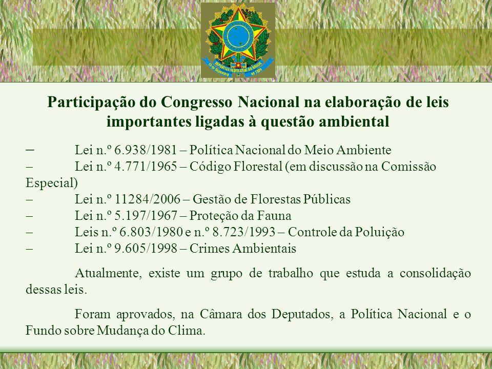 Participação do Congresso Nacional na elaboração de leis importantes ligadas à questão ambiental Lei n.º 6.938/1981 – Política Nacional do Meio Ambien
