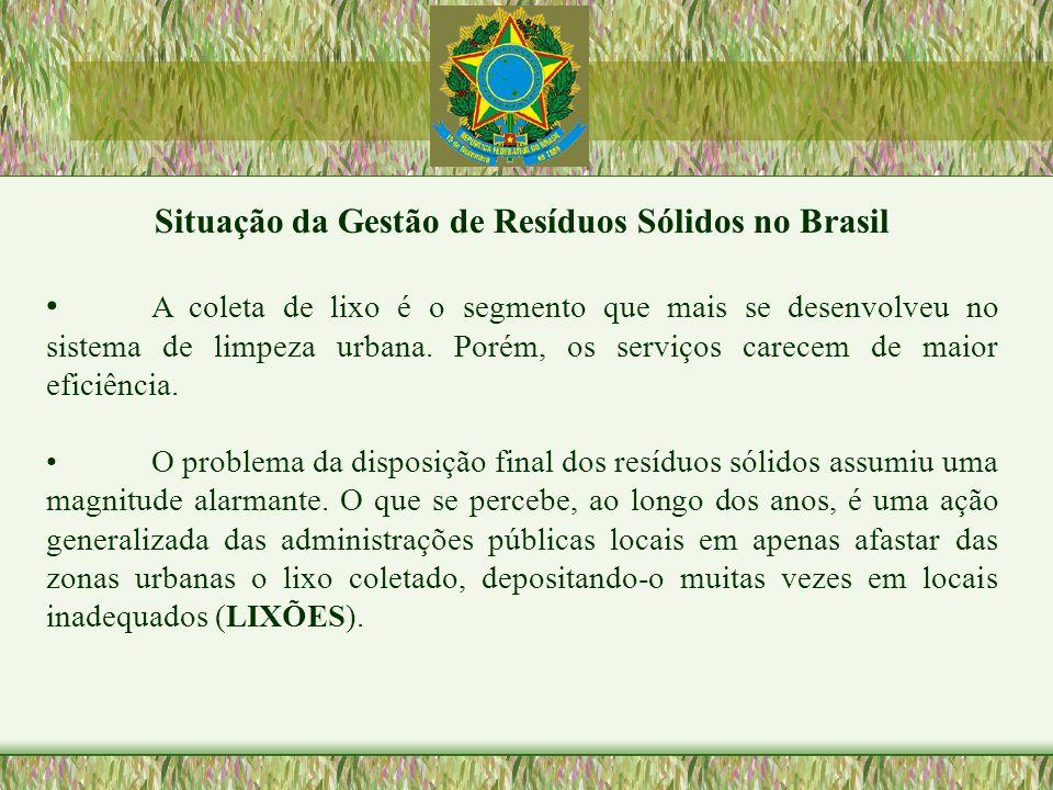 Situação da Gestão de Resíduos Sólidos no Brasil A coleta de lixo é o segmento que mais se desenvolveu no sistema de limpeza urbana. Porém, os serviço