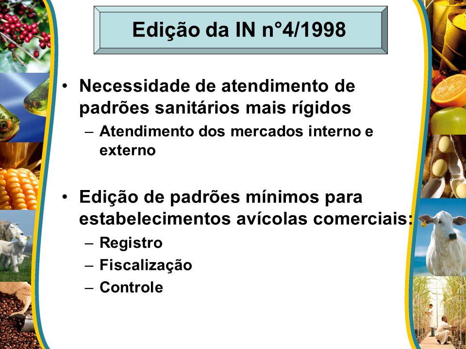 Edição da IN n°4/1998 Necessidade de atendimento de padrões sanitários mais rígidos –Atendimento dos mercados interno e externo Edição de padrões míni