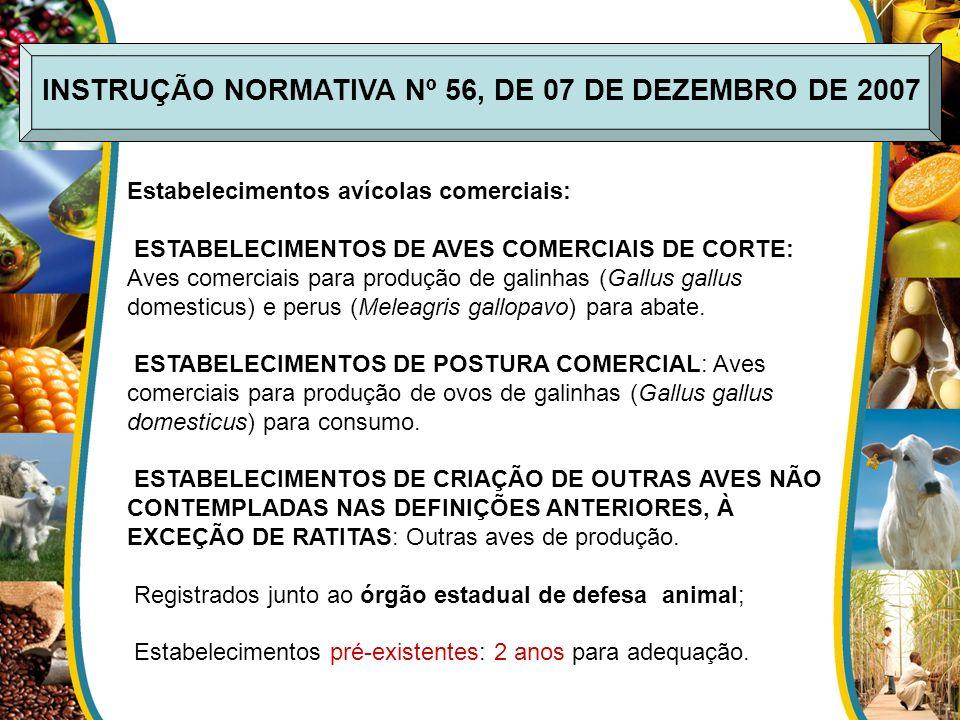 INSTRUÇÃO NORMATIVA Nº 56, DE 07 DE DEZEMBRO DE 2007 Estabelecimentos avícolas comerciais: ESTABELECIMENTOS DE AVES COMERCIAIS DE CORTE: Aves comercia