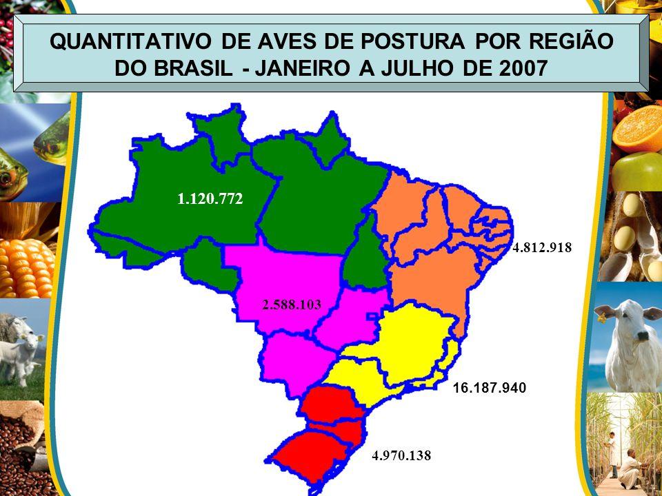 QUANTITATIVO DE AVES DE POSTURA POR REGIÃO DO BRASIL - JANEIRO A JULHO DE 2007 16.187.940 4.970.138 2.588.103 4.812.918 1.120.772