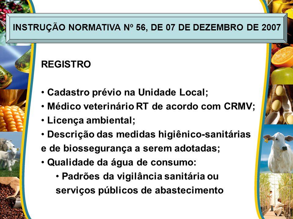 REGISTRO Cadastro prévio na Unidade Local; Médico veterinário RT de acordo com CRMV; Licença ambiental; Descrição das medidas higiênico-sanitárias e d