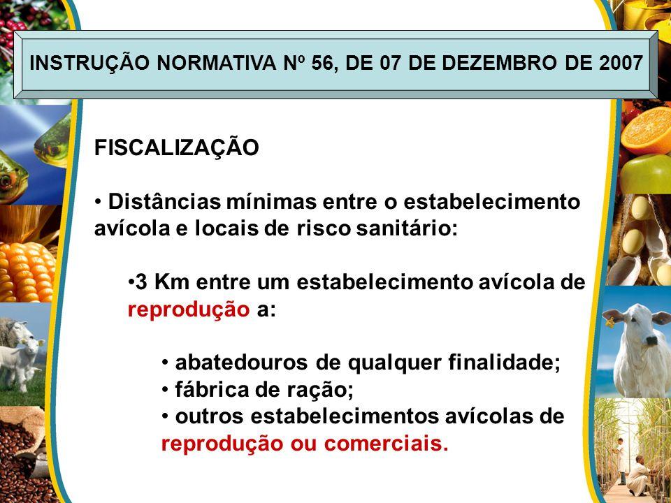 FISCALIZAÇÃO Distâncias mínimas entre o estabelecimento avícola e locais de risco sanitário: 3 Km entre um estabelecimento avícola de reprodução a: ab