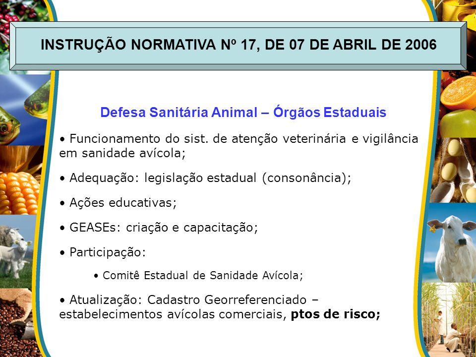 INSTRUÇÃO NORMATIVA Nº 17, DE 07 DE ABRIL DE 2006 Defesa Sanitária Animal – Órgãos Estaduais Funcionamento do sist. de atenção veterinária e vigilânci