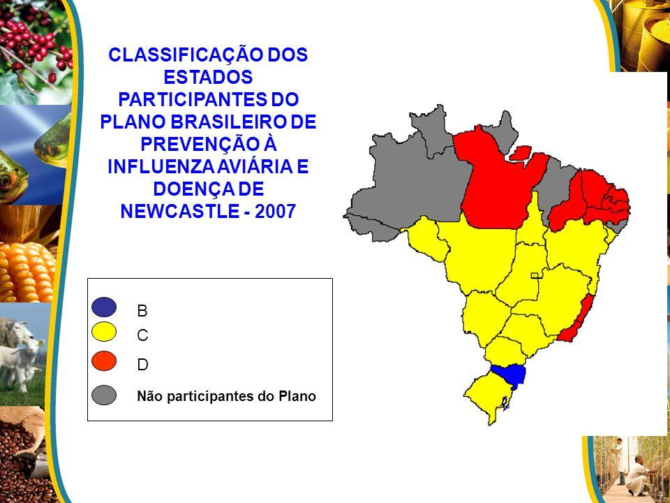 CLASSIFICAÇÃO DOS ESTADOS PARTICIPANTES DO PLANO BRASILEIRO DE PREVENÇÃO À INFLUENZA AVIÁRIA E DOENÇA DE NEWCASTLE - 2007 B C D Não participantes do P