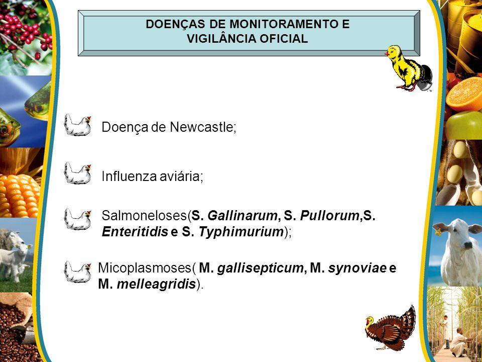 DOENÇAS DE MONITORAMENTO E VIGILÂNCIA OFICIAL Influenza aviária; Salmoneloses(S. Gallinarum, S. Pullorum,S. Enteritidis e S. Typhimurium); Micoplasmos