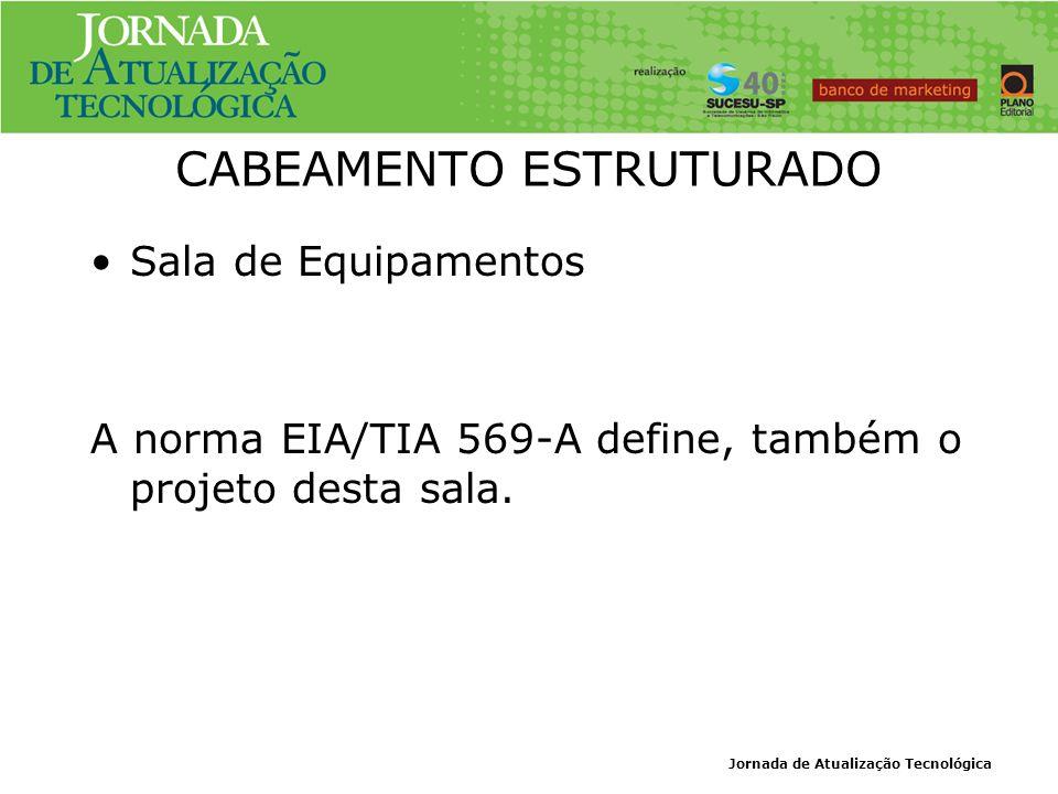 Jornada de Atualização Tecnológica CABEAMENTO ESTRUTURADO Sala de Equipamentos A norma EIA/TIA 569-A define, também o projeto desta sala.