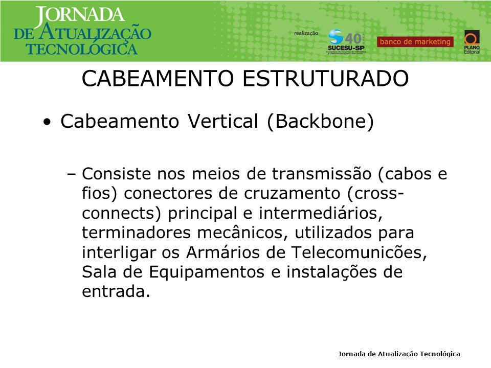 Jornada de Atualização Tecnológica CABEAMENTO ESTRUTURADO Cabeamento Vertical (Backbone) –Consiste nos meios de transmissão (cabos e fios) conectores