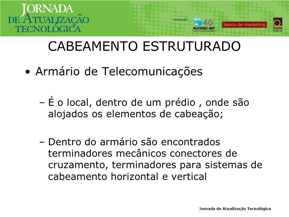 Jornada de Atualização Tecnológica CABEAMENTO ESTRUTURADO Armário de Telecomunicações –É o local, dentro de um prédio, onde são alojados os elementos