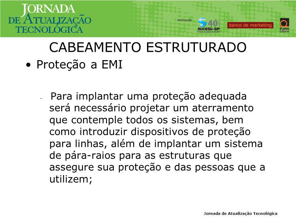 Jornada de Atualização Tecnológica CABEAMENTO ESTRUTURADO Proteção a EMI – Para implantar uma proteção adequada será necessário projetar um aterrament