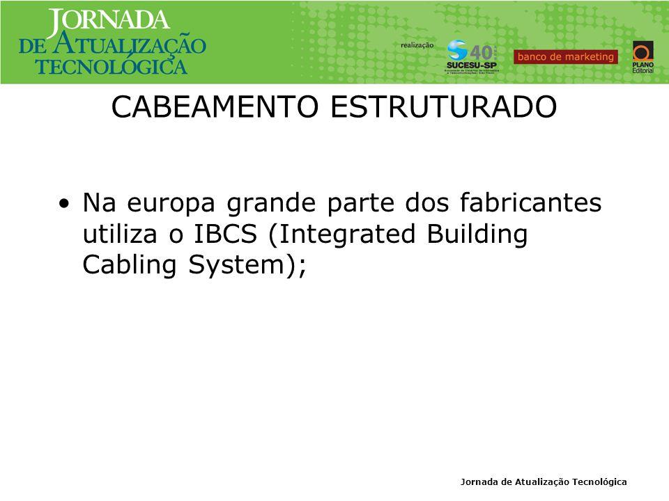 Jornada de Atualização Tecnológica CABEAMENTO ESTRUTURADO Na europa grande parte dos fabricantes utiliza o IBCS (Integrated Building Cabling System);