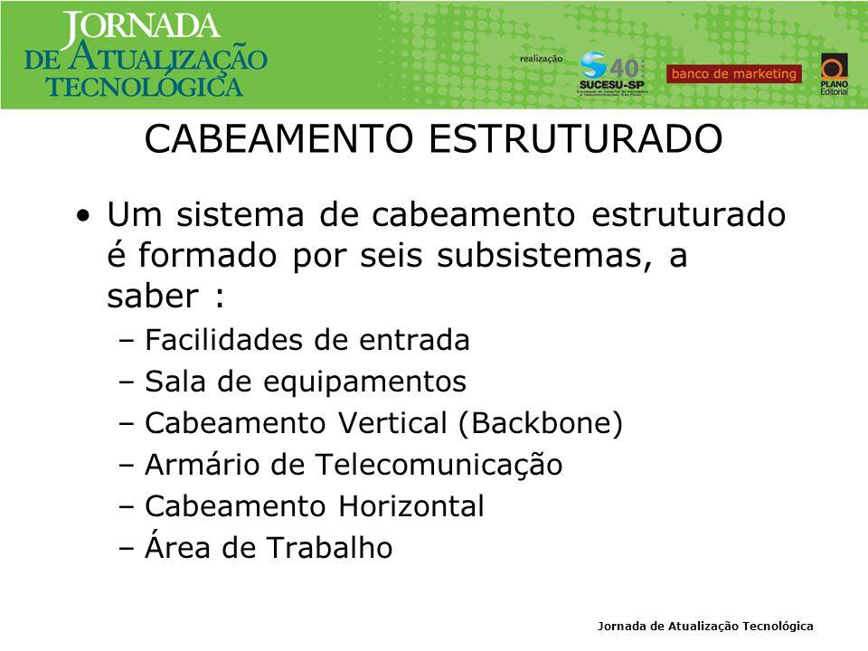 CABEAMENTO ESTRUTURADO Um sistema de cabeamento estruturado é formado por seis subsistemas, a saber : –Facilidades de entrada –Sala de equipamentos –C