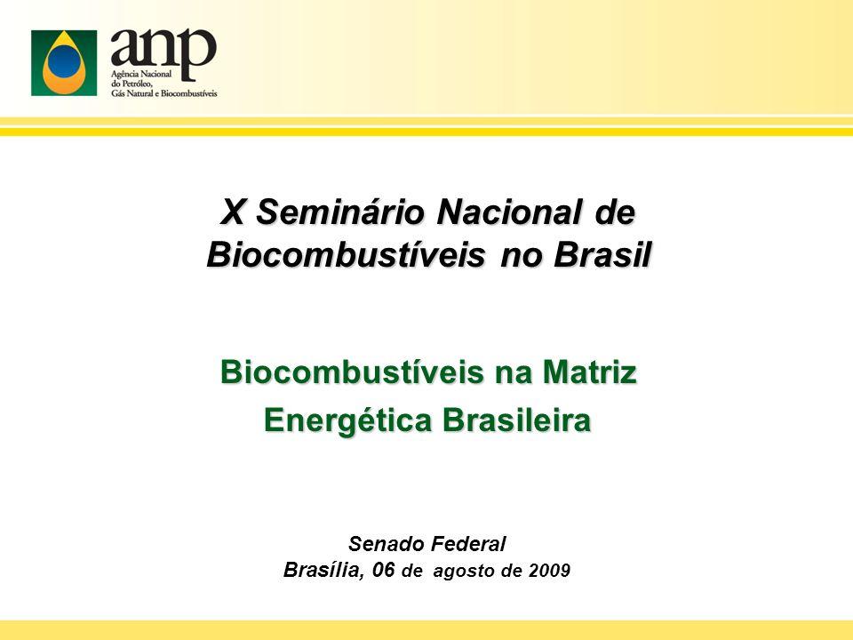 X Seminário Nacional de Biocombustíveis no Brasil Biocombustíveis na Matriz Energética Brasileira Senado Federal Brasília, 06 de agosto de 2009