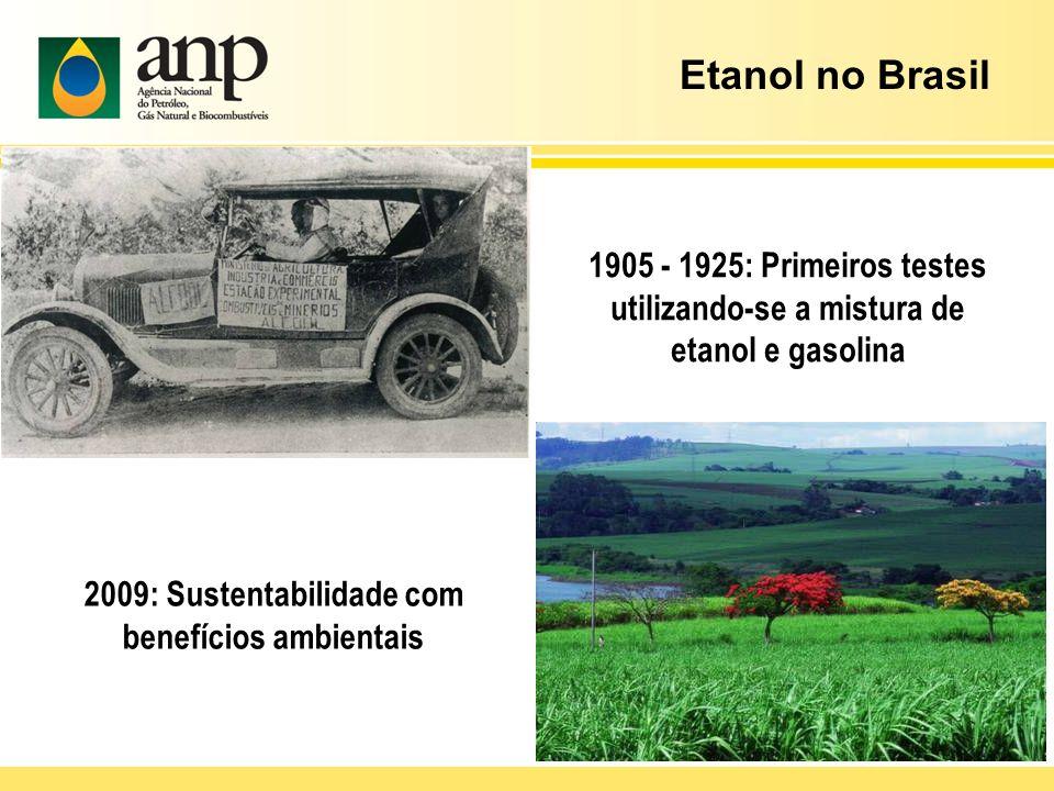 1905 - 1925: Primeiros testes utilizando-se a mistura de etanol e gasolina 2009: Sustentabilidade com benefícios ambientais Etanol no Brasil