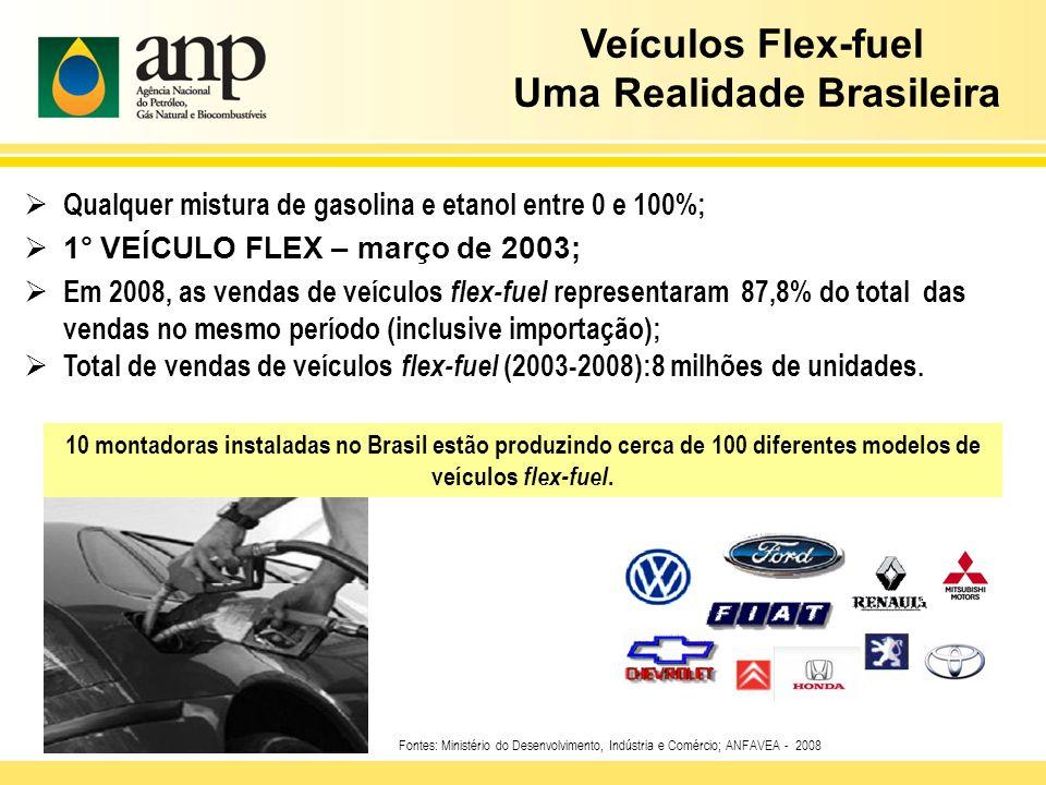 10 montadoras instaladas no Brasil estão produzindo cerca de 100 diferentes modelos de veículos flex-fuel. Fontes: Ministério do Desenvolvimento, Indú