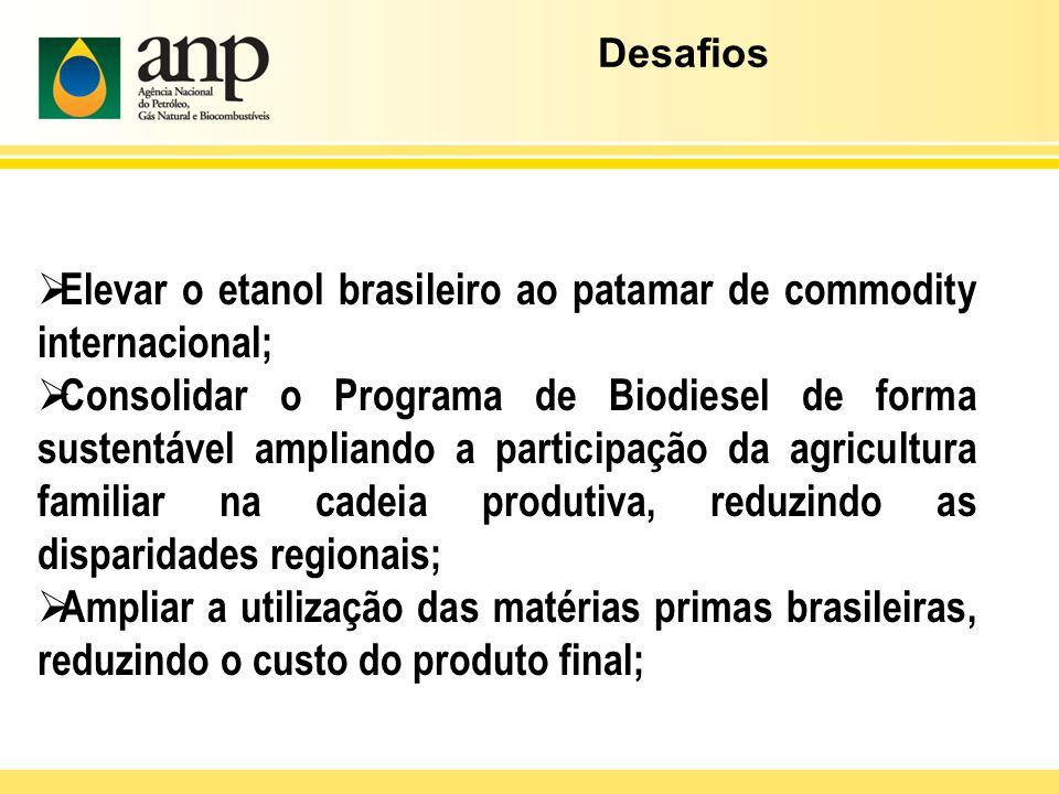 Elevar o etanol brasileiro ao patamar de commodity internacional; Consolidar o Programa de Biodiesel de forma sustentável ampliando a participação da