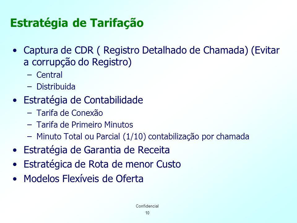 10 Confidencial Estratégia de Tarifação Captura de CDR ( Registro Detalhado de Chamada) (Evitar a corrupção do Registro) –Central –Distribuida Estratégia de Contabilidade –Tarifa de Conexão –Tarifa de Primeiro Minutos –Minuto Total ou Parcial (1/10) contabilização por chamada Estratégia de Garantia de Receita Estratégica de Rota de menor Custo Modelos Flexíveis de Oferta