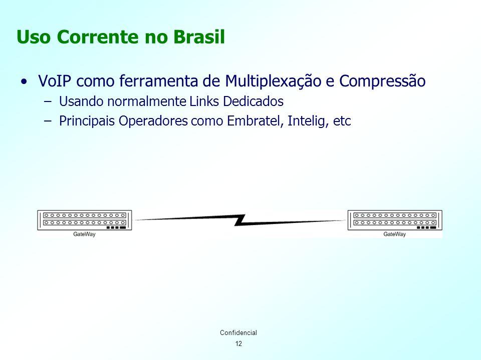12 Confidencial Uso Corrente no Brasil VoIP como ferramenta de Multiplexação e Compressão –Usando normalmente Links Dedicados –Principais Operadores como Embratel, Intelig, etc