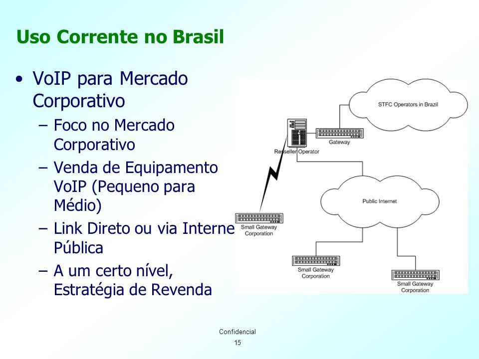 15 Confidencial Uso Corrente no Brasil VoIP para Mercado Corporativo –Foco no Mercado Corporativo –Venda de Equipamento VoIP (Pequeno para Médio) –Link Direto ou via Internet Pública –A um certo nível, Estratégia de Revenda