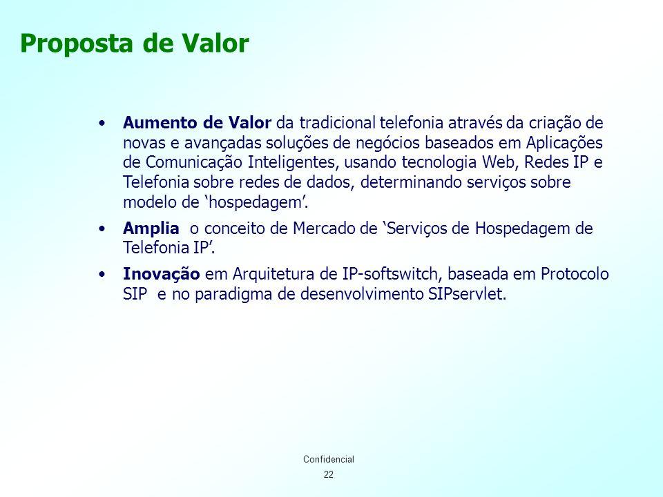 22 Confidencial Proposta de Valor Aumento de Valor da tradicional telefonia através da criação de novas e avançadas soluções de negócios baseados em Aplicações de Comunicação Inteligentes, usando tecnologia Web, Redes IP e Telefonia sobre redes de dados, determinando serviços sobre modelo de hospedagem.