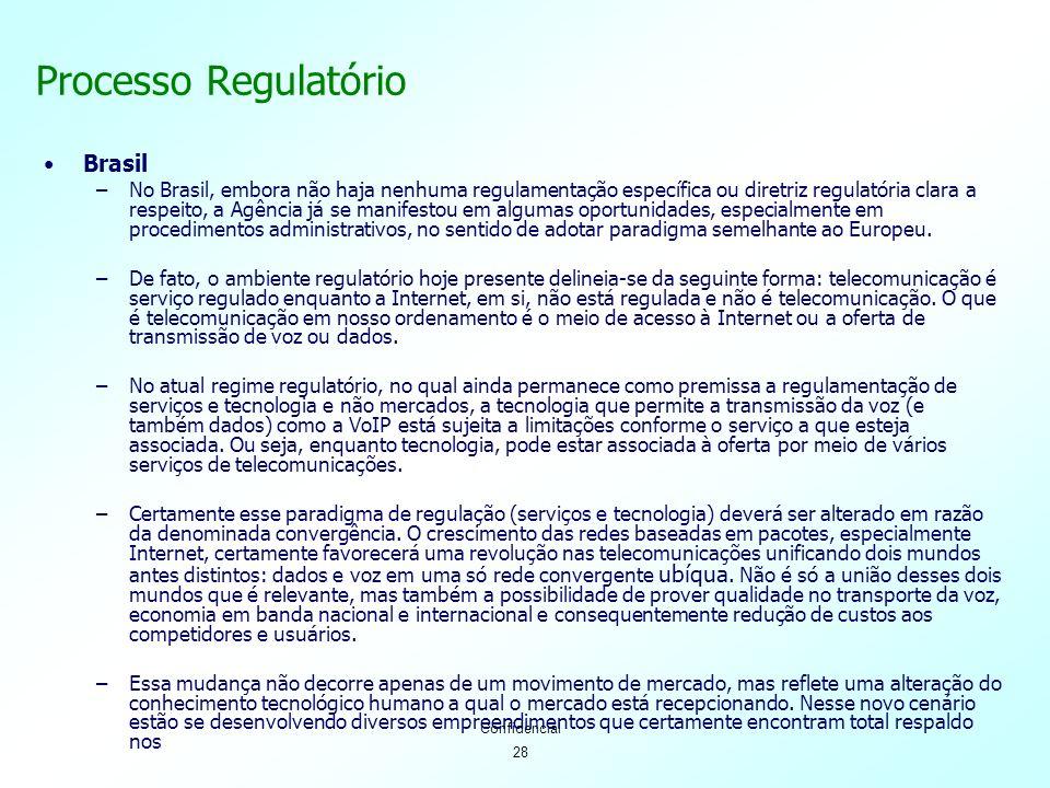 28 Confidencial Processo Regulatório Brasil –No Brasil, embora não haja nenhuma regulamentação específica ou diretriz regulatória clara a respeito, a