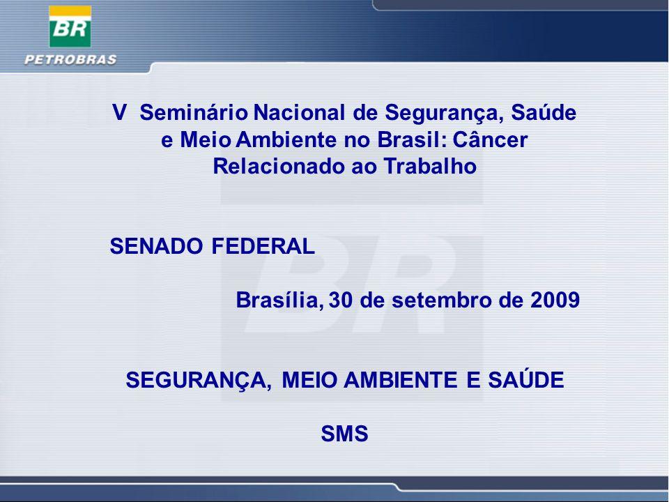 1 1 V Seminário Nacional de Segurança, Saúde e Meio Ambiente no Brasil: Câncer Relacionado ao Trabalho SENADO FEDERAL Brasília, 30 de setembro de 2009