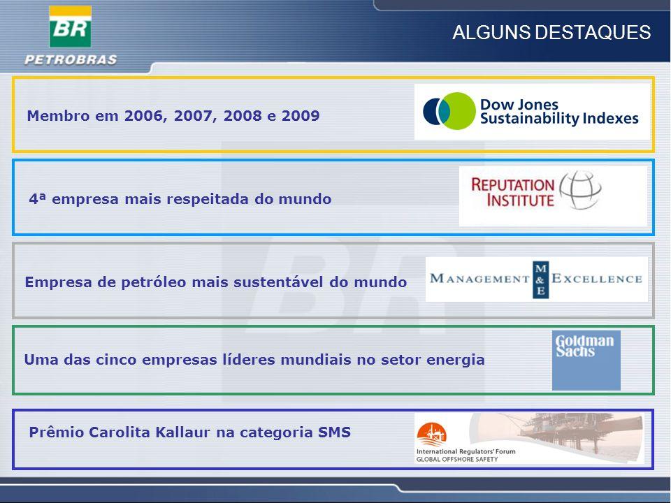 11 ALGUNS DESTAQUES Membro em 2006, 2007, 2008 e 2009 4ª empresa mais respeitada do mundo Empresa de petróleo mais sustentável do mundo Prêmio Carolit