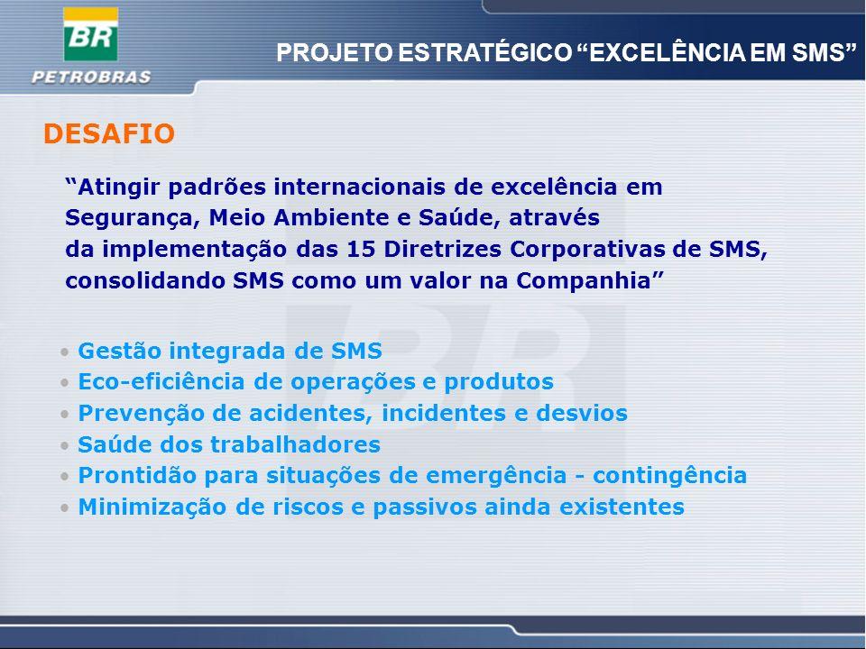 5 5 PROJETO ESTRATÉGICO EXCELÊNCIA EM SMS DESAFIO Atingir padrões internacionais de excelência em Segurança, Meio Ambiente e Saúde, através da impleme