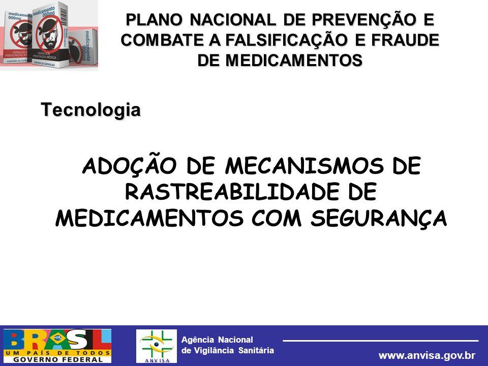 Agência Nacional de Vigilância Sanitária www.anvisa.gov.br Tecnologia ADOÇÃO DE MECANISMOS DE RASTREABILIDADE DE MEDICAMENTOS COM SEGURANÇA PLANO NACI