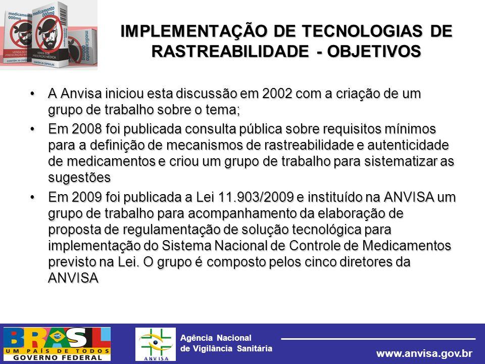 Agência Nacional de Vigilância Sanitária www.anvisa.gov.br IMPLEMENTAÇÃO DE TECNOLOGIAS DE RASTREABILIDADE - OBJETIVOS A Anvisa iniciou esta discussão