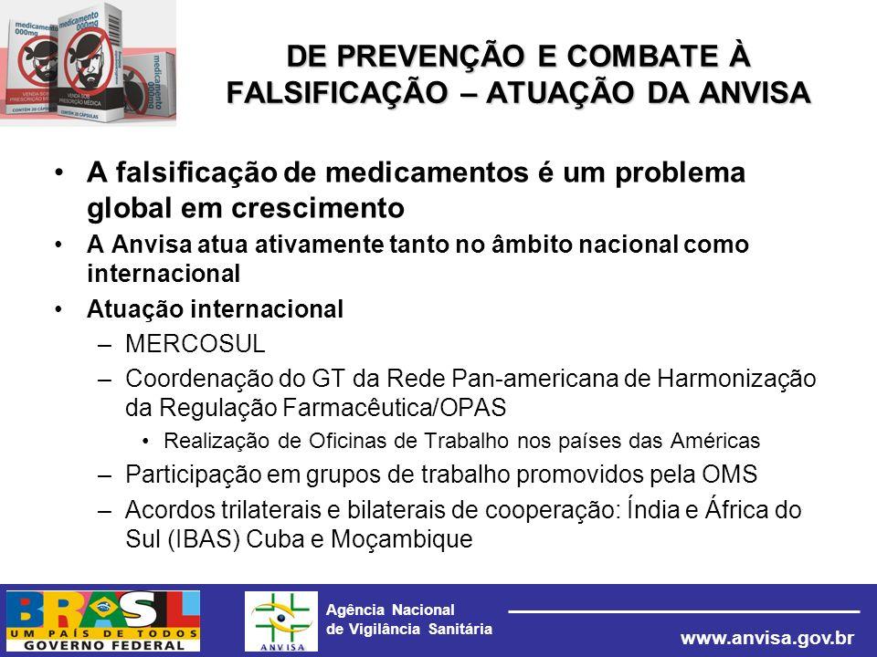 Agência Nacional de Vigilância Sanitária www.anvisa.gov.br DE PREVENÇÃO E COMBATE À FALSIFICAÇÃO – ATUAÇÃO DA ANVISA A falsificação de medicamentos é