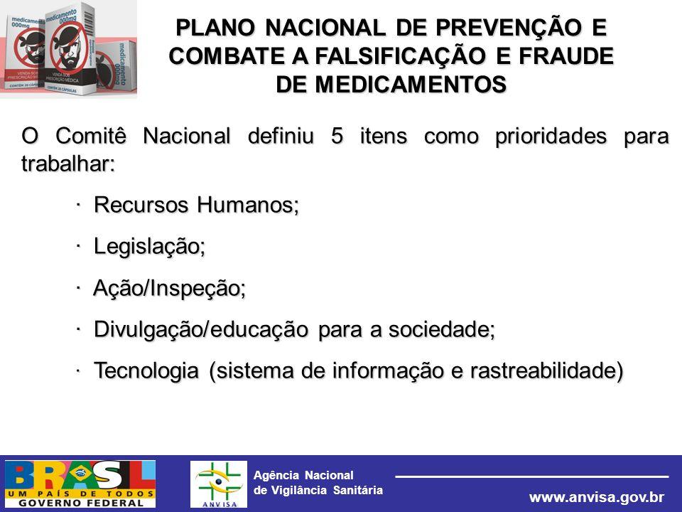 Agência Nacional de Vigilância Sanitária www.anvisa.gov.br O Comitê Nacional definiu 5 itens como prioridades para trabalhar: · Recursos Humanos; · Le