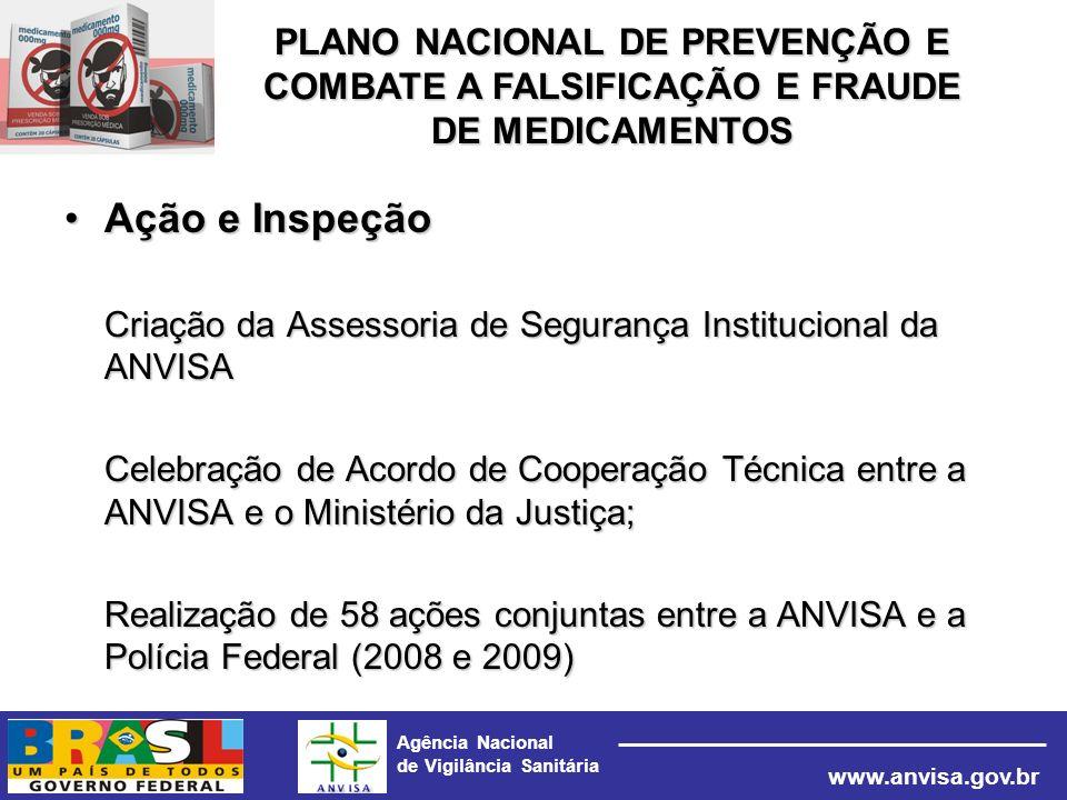 Agência Nacional de Vigilância Sanitária www.anvisa.gov.br Ação e InspeçãoAção e Inspeção Criação da Assessoria de Segurança Institucional da ANVISA C